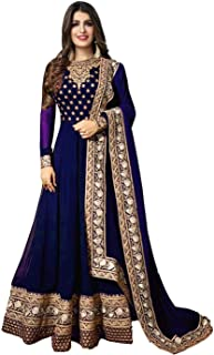 Ethnic Yard Women Faux Georgette Semi Stitched Salwar Suit Gowns