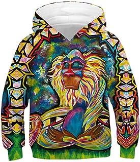 Toddler Teen Kids Baby Boy Print Colorful Pattern Sweatshirt Pocket Pullover Hoodie Tops