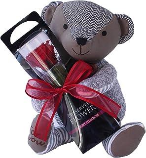 プリザーブドフラワー (パッチワークのクマさんと一輪の薔薇/レッド) プレゼント お祝い [ 記念日 誕生日 ] アレンジ