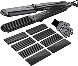 Hair Crimper, CkeyiN Crimping Irons Hair Straightener Flat Iron with 4 Interchangeable Tourmaline Ceramic Plate Adjustable...