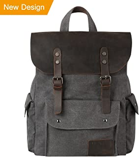"P.KU.VDSL Canvas Leather Backpack, 15"" Laptop Backpack, Vintage Leather Rucksack, Travel School Bag Daypacks for Men Outdoor Sports"
