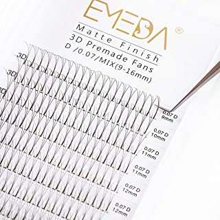 Premade Fans Volume Lash Extensions C Curl D Curl 0.10 Mix Tray 9mm 10mm 11mm 12mm 13mm 14mm 15mm 16mm Mixed Trays .10 3D Pre Fanned Russian Cluster Eyelashes by EMEDA (0.10 -D -11mm )