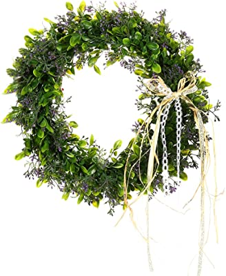 Lanlan Artificial Green Leaf Wreath with Bow Door Hanging Wall Window Decorations Holiday Festival Wedding Decorations Wedding Party Supplies Three style can choose 40cm Style B