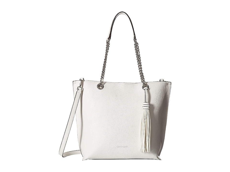 Calvin Klein Unlined Novelty Top Zip Tote (White) Tote Handbags