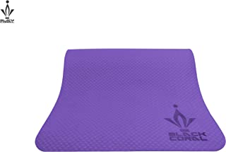 Black Coral Yoga Mat 6mm TPE Eco Friendly Non Slip High Density Mat with Free Carrying Strap for Yoga, Pilates, and Interval Training Exercises