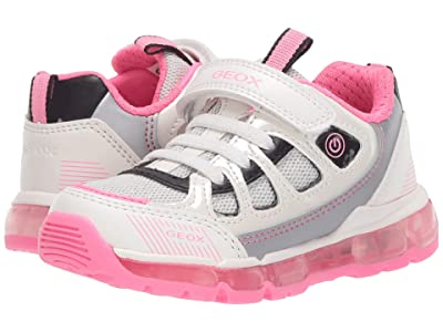 Geox Kids Android 28 (Toddler/Little Kid) (White/Fuchsia) Girl