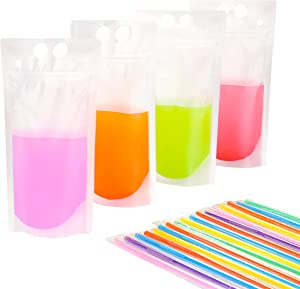 50 PCS Stand-Up Plastic Drink Pouches Bags with 50 Drink Straws, Heavy Duty Hand-Held Translucent Reclosable Ice Drink Pouches Bag, Non-Toxic, for Smoothie, Cold & Hot Drinks