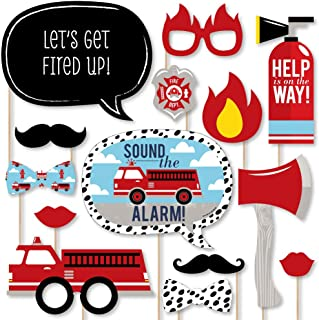 Big Dot of Happiness Fired Up Fire Truck - Firefighter Firetruck Baby Shower or Birthday Party Photo Booth Props Kit - 20 Count