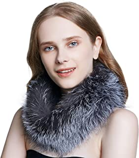 Winter Fox Fur Infinity Scarf for Women Circle Scarves Neck Warmer Wrap Fur Shawl