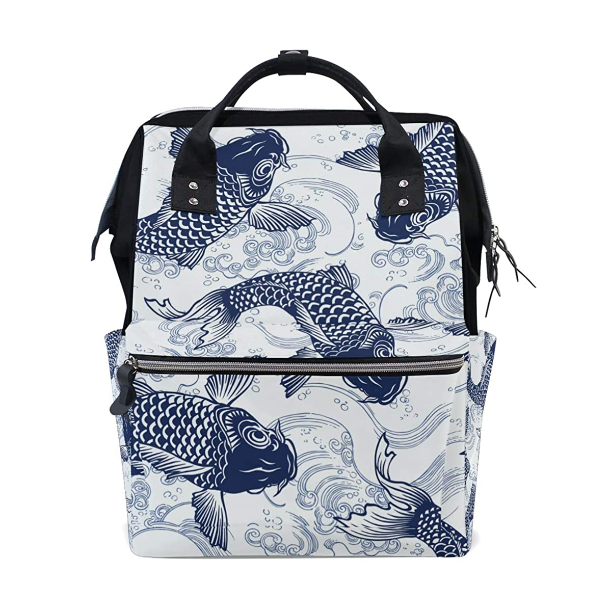Carp Fishes School Backpack Large Capacity Mummy Bags Laptop Handbag Casual Travel Rucksack Satchel For Women Men Adult Teen Children