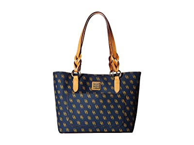 Dooney & Bourke Blakely Small Tammy Tote (Navy/Btrsctch Trim) Tote Handbags