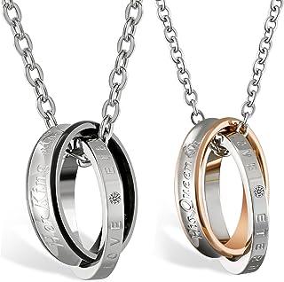 Oidea, 1 paio (2 pezzi) di anelli in acciaio inox Her King His Queen con ciondolo, ciondolo per partner con catena da 45 c...