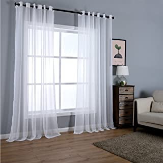 Dreaming Casa Solid Sheer Curtains Draperie White Grommet Top Two Panels 52