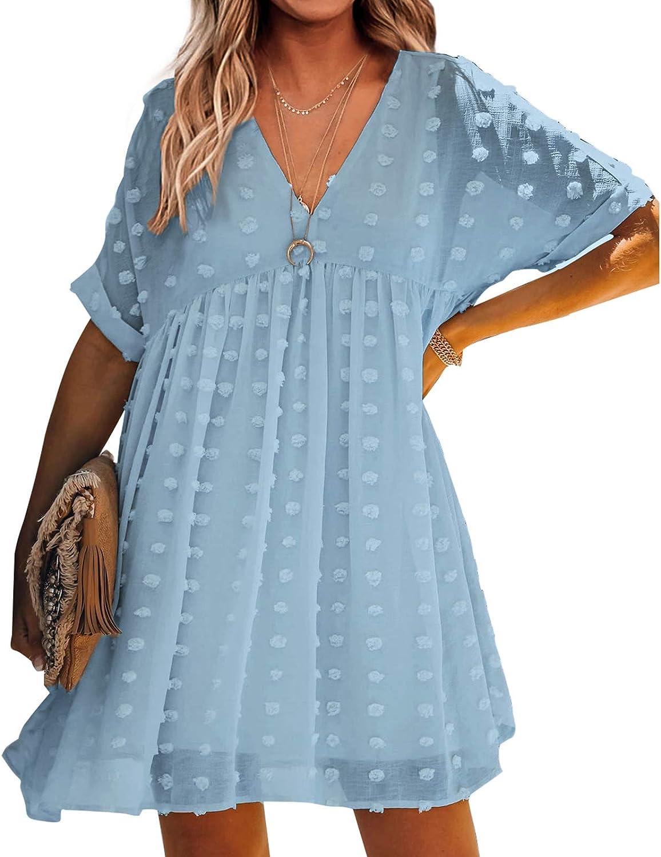 Women's Casual Chiffon Dresses V Neck Ruffle Swing Elegant A Line Party Dress Sexy Summer Beach Dress