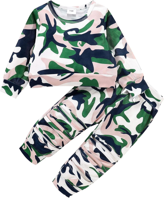 Tikoubabe Baby Girl Clothe Infant Camo Outfit Long Sleeve T-shirt Pant 2Pcs 3-24 Months