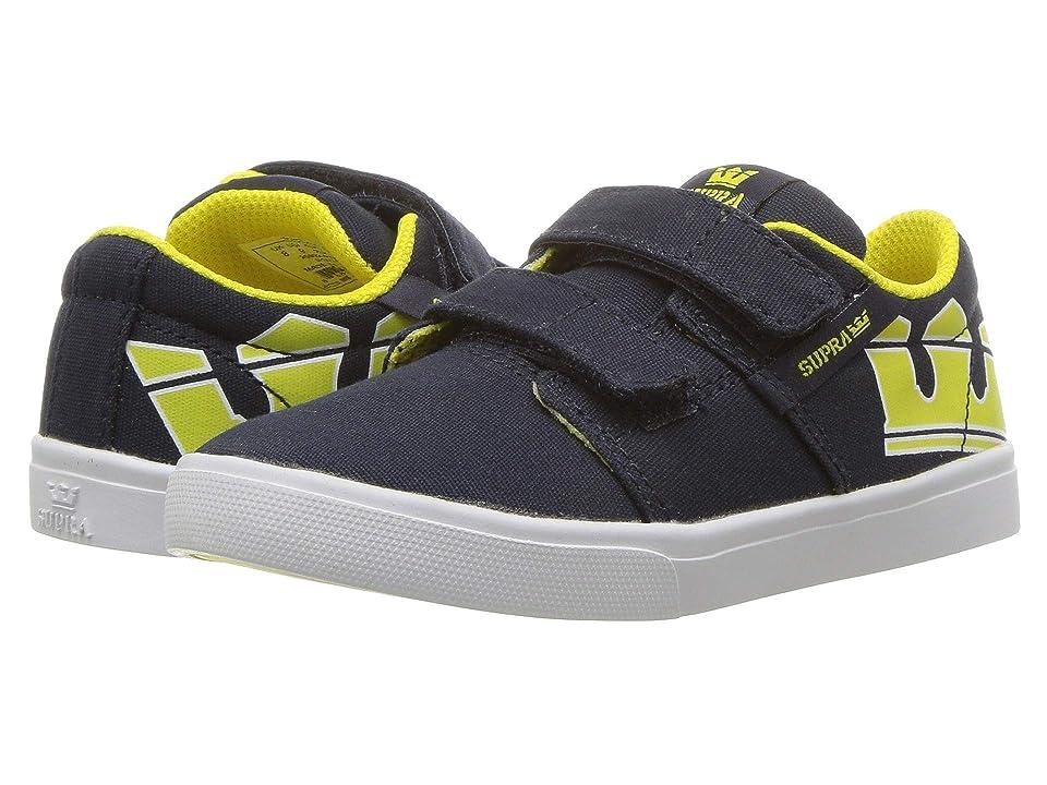 Supra Kids Stacks Vulc II V (Toddler) (Navy/Yellow/White) Boys Shoes