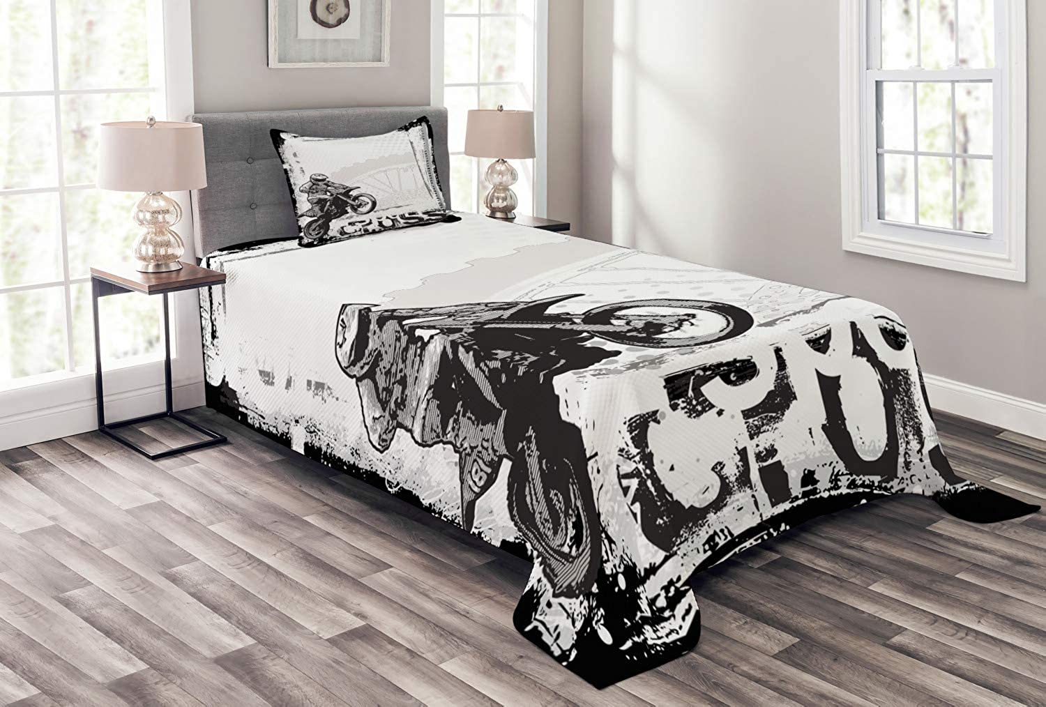 Ambesonne Motorcycle Bedspread Set Twin Size, Motocross Racer Image Grungy Background Poster Style Monochromic Artwork Print, 2 Piece Decorative Quilted Coverlet with 1 Pillow Sham, Black White