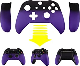eXtremeRate Soft Touch Top Shell Front Housing Faceplate Replacement Parts with Side Rails Panel for Microsoft Xbox One X & One S Controller (Shadow Purple)