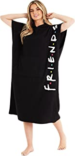 Friends Changing Robe with Pocket, 100% Cotton Hooded Towelling Robe for Women (Black, M/L)