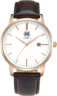 AIBI Men's Watch Classic Quartz Analog Business Wrist Egg White Face Rosegold Case Watches with Date Brown Leather Strap 3ATM Waterproof for Men