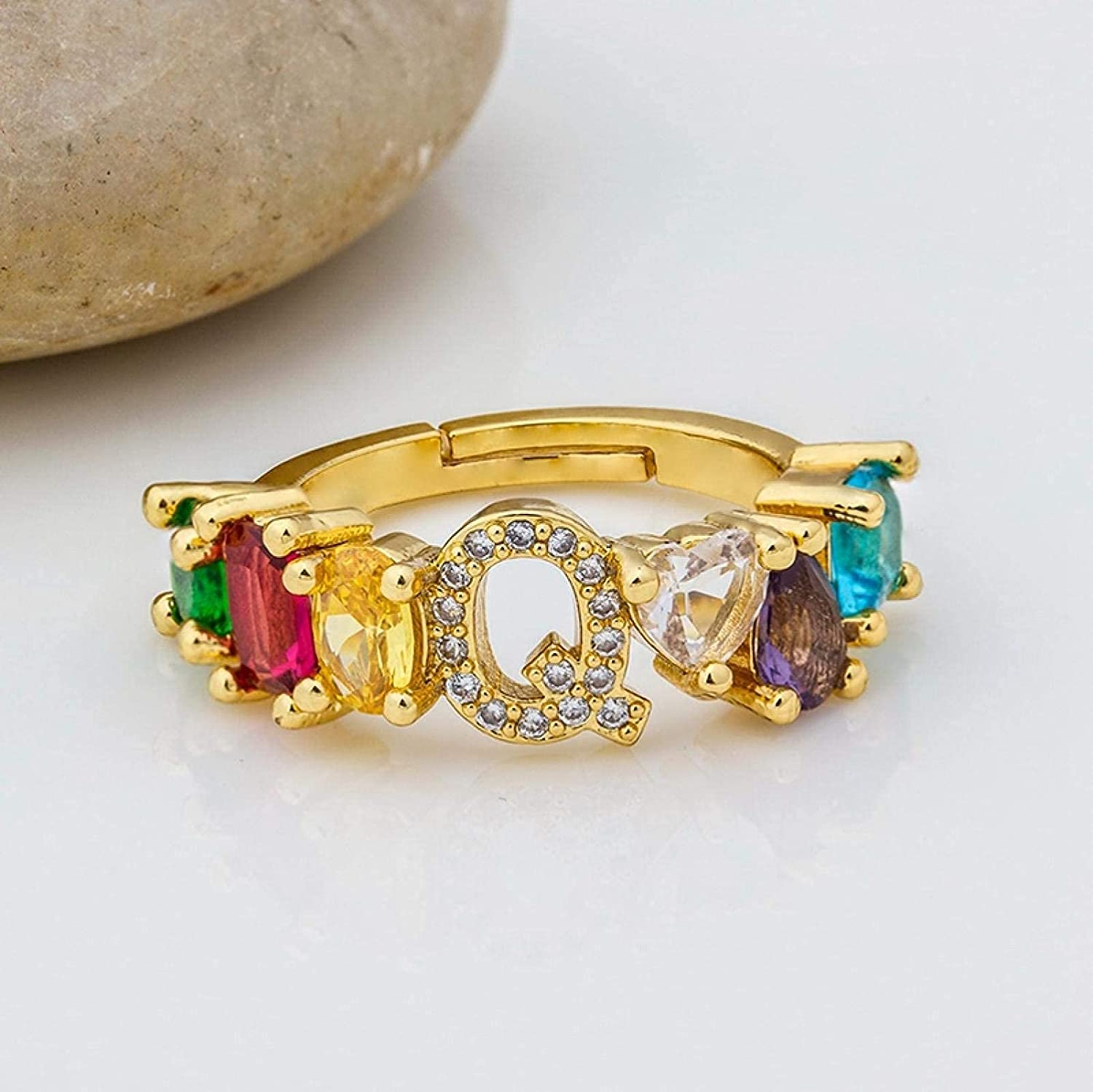 SEAL limited product Open Ring for Fashionable Women Girl Personality Gold Dainty Color Pave