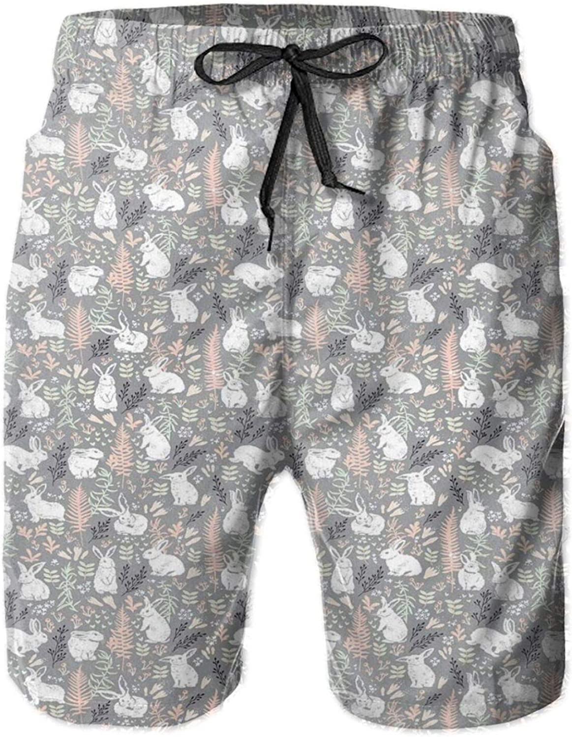 Nature Inspired Pattern Drawn by Hand with White Hares Hearts and Floral Elements Mens Swim Shorts Casual Workout Short Pants Drawstring Beach Shorts,XL