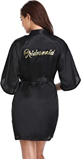 Vlazom Women's Satin Robe Short Kimono for Bride & Bridesmaid Wedding Party Robes with Gold Glitter or Rhinestones