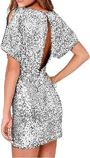 فستان سهرة مثير مثير للنساء مقاس صغير مصنوع من أقمشة عالية الجودة صديقة للجلد (اللون: فضي، المقاس: مقاس صغير: