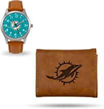 Rico Industries Miami Dolphins Sparo Brown Watch and Wallet Set