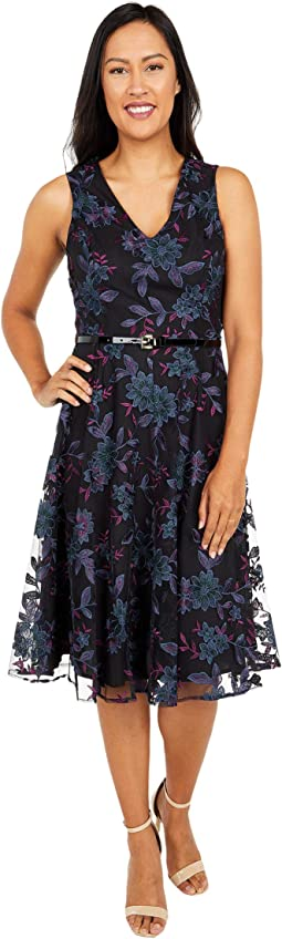 Mesh Lace Fit-and-Flare Dress
