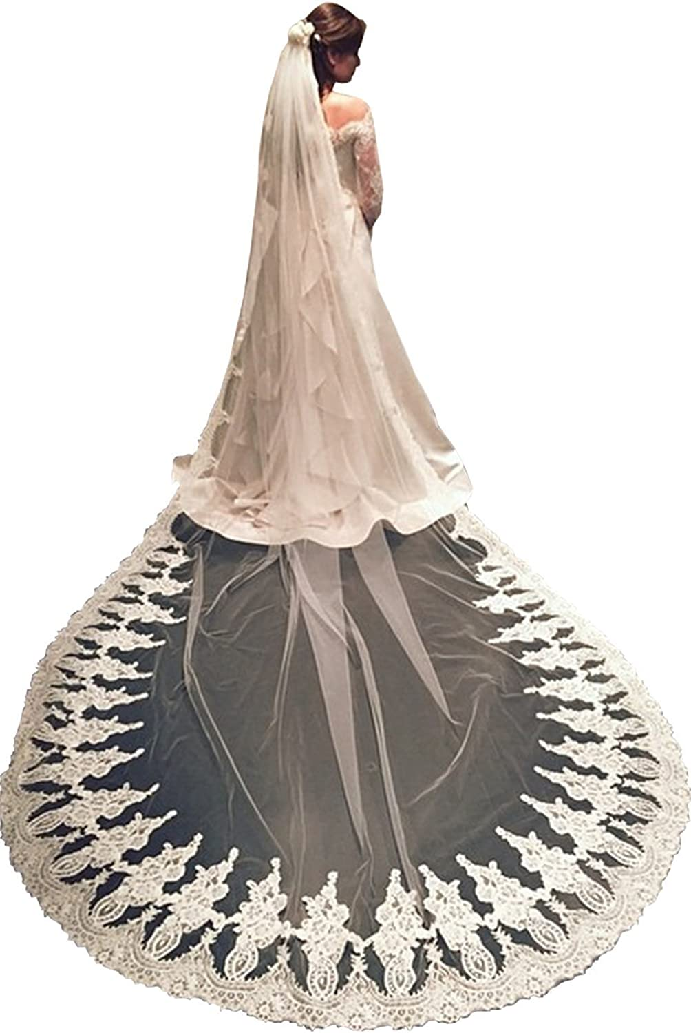 EllieHouse Women's Lace Chapel Wedding Bridal Veil With Free Comb E10