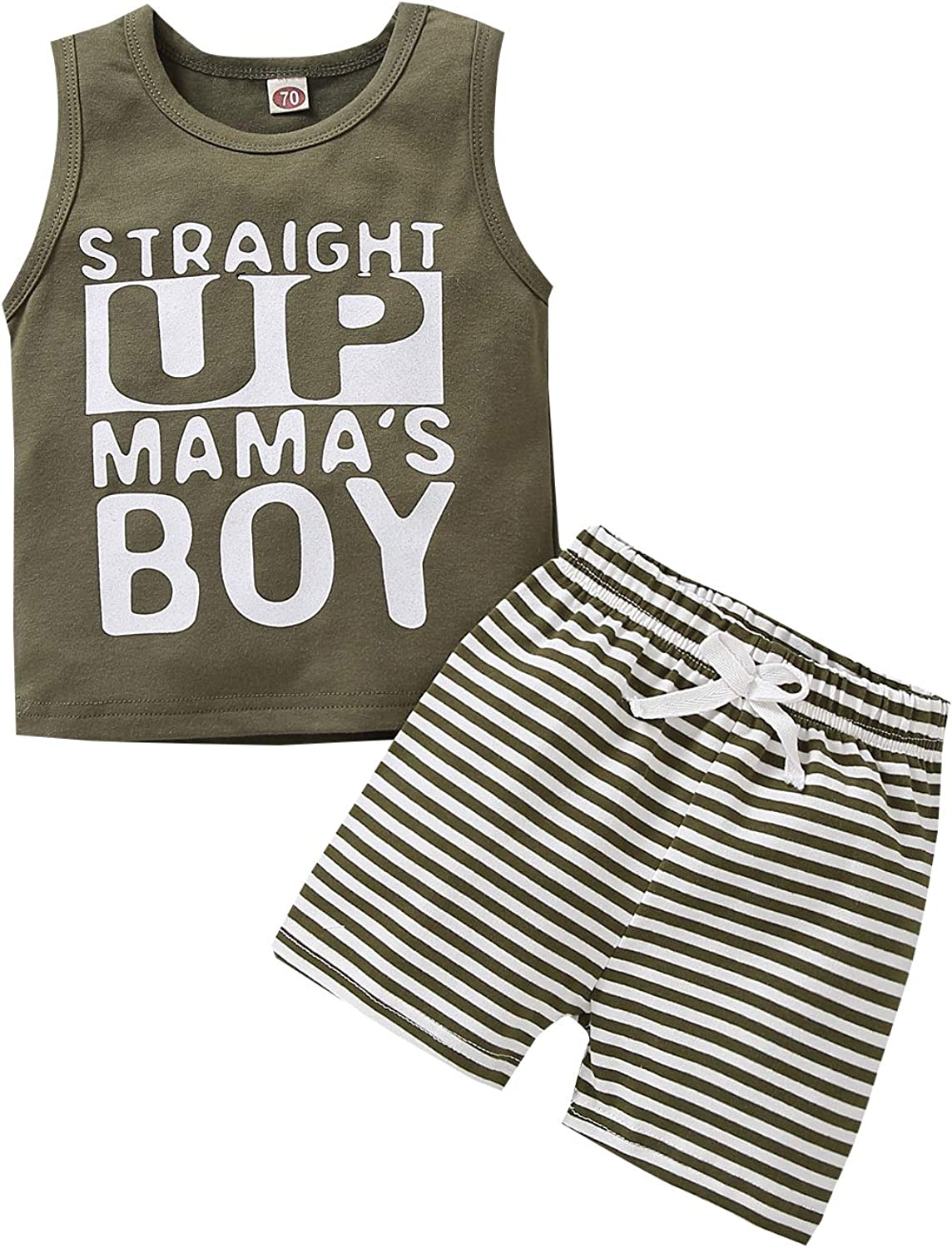 Summer Baby Boy Clothes Set Straight Up Mama's Boy Striped Outfits Sleeveless Letter Print Cotton Tops+Shorts 2PCS