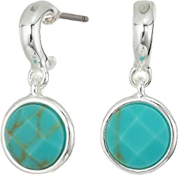 Turquoise Stone Huggie Earrings