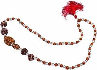 SHIV SHANKAR ACCESSORIES Wooden 2 3 4 5 6 7 Mukhi Rudraksha Crystal Japa Mala Necklace