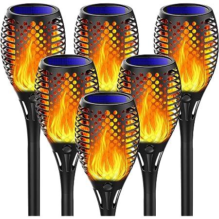 Fortand Lumières Flamme Solaire, 6 Pack Lampe Torche de Jardin LED Solaire Lumière Lampe Etanche IP65 Éclairage Torche Solaire D'extérieur Auto On/Off Flamme Solaire pour Décor, Jardin, Patio, Chemins