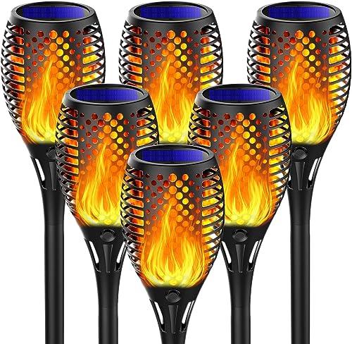 Fortand Lumières Flamme Solaire, 6 Pack Lampe Torche de Jardin LED Solaire Lumière Lampe Etanche IP65 Éclairage Torch...