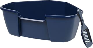 IRIS USA Large Corner Litter Box with Scoop, Navy 588407