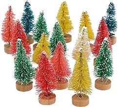 FINGOOO Multicolor Miniature Sisal Trees,Plastic Winter Snow Tabletop Trees,24 Pieces Bottle Brush Trees for Christmas Dec...