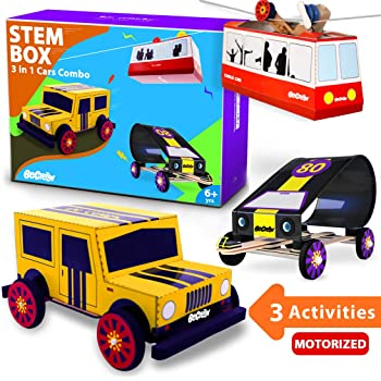 Be Cre8v Cars 3 in 1 STEM Activity Combo Box Educational Toy for Children Over 6 Years. Stem lab, Electronics Projects, Science lab DIY, Racing Cars