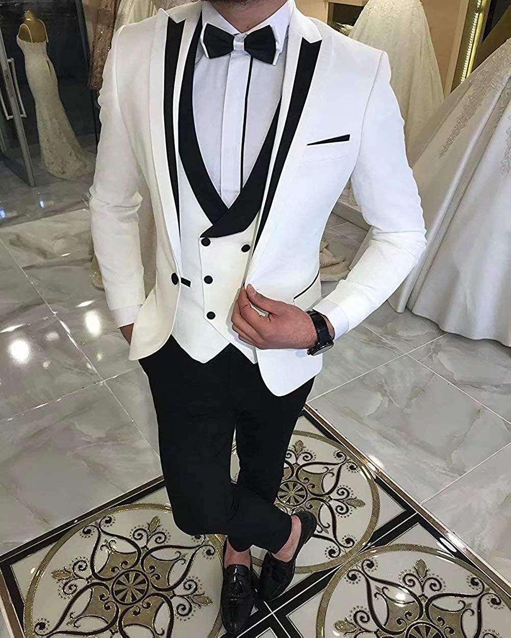 Onlylover Men's 3 Pieces Suits for Wedding Slim Fit One Button Groom Tuxedo Jacket Vest & Trousers
