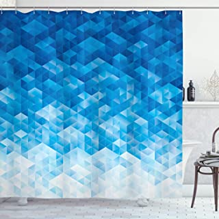 Ambesonne Geometric Shower Curtain, Geometric Gradient Digital Texture with Mosaic Triangle Pixel Graphic Print Art, Cloth Fabric Bathroom Decor Set with Hooks, 70