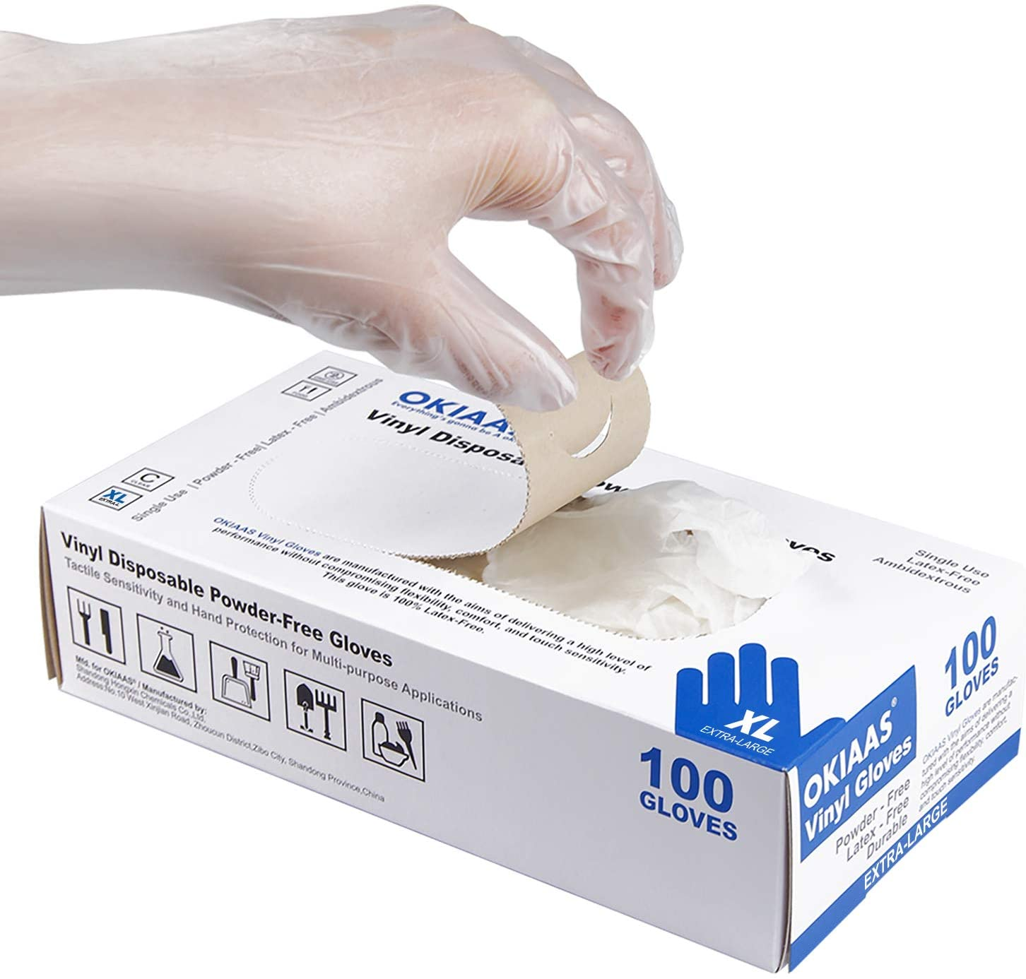 Financial sales sale OKIAAS Disposable Gloves XL Latex-Free for H Directly managed store Vinyl Clear