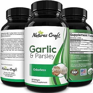 Heart Health Garlic Supplement Odorless - Odorless Garlic Softgels and Parsley Pills for Immune Support Bone Strength Chol...