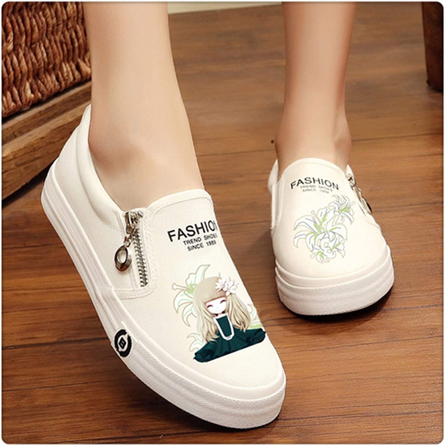 HAHUTG& Slip on Women's Platform shoes Summer 2019 Thick Heel Loafers Floral Canvas shoes Women Espadrilles White Black bai baihe meinv 4.5