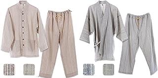 優柔 纏(まとい)いろは織 作務衣&パジャマセット 男女兼用 (M, パジャマ/白茶縦縞+作務衣/白紺縦縞)