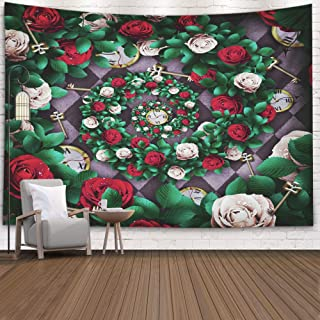 Shorping Art Tapestries, 60x50Inches Hanging Wall Tapestry for Décor Living Room Dorm in Wonderland Red Roses and White on Chess Background Clock Key Spiral Frame Rose Flower Wonderland