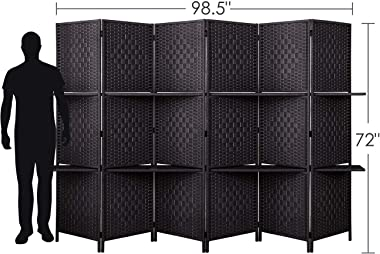 6 ft Tall (Extra Wide) Room Divider Diamond Weave Fiber, Wall divider Decor, Folding privacy screens, Partition Wall, With 2