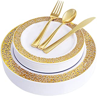 100 Piece Gold Plastic Plates with Disposable Silverware, Elegant Lace Dinnerware Set Service for 20 People Includes : 20 Dinner Plates 10.25