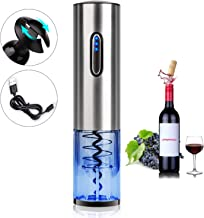 COMPONALL Electric Wine Opener, Premium Stainless Steel Electric Corkscrew, USB Rechargeable Cordless Wine Bottle Opener with Foil Cutter