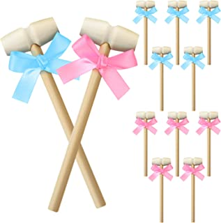 12 Pieces Mini Wooden Hammer Crab Solid Hardwood Lobster Mallets Seafood Shellfish Mallet Crab Hammer with 12 Pieces Ribbo...